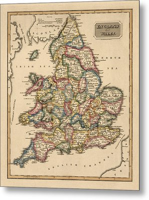 Antique Map Of England And Wales By Fielding Lucas - Circa 1817 Metal Print by Blue Monocle