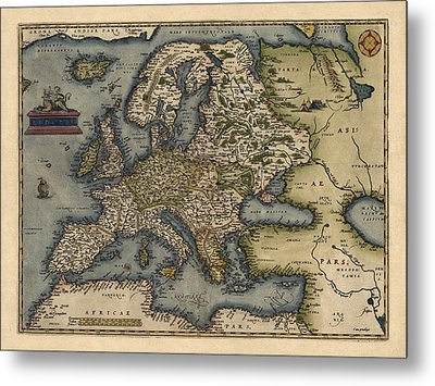 Antique Map Of Europe By Abraham Ortelius - 1570 Metal Print by Blue Monocle