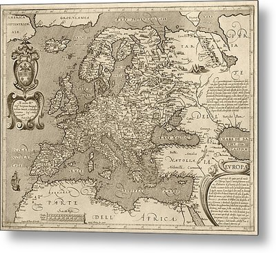 Antique Map Of Europe By Arnoldo Di Arnoldi - Circa 1600 Metal Print by Blue Monocle