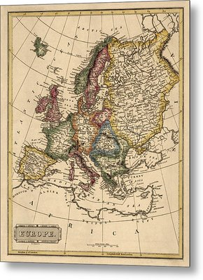 Antique Map Of Europe By Fielding Lucas - Circa 1817 Metal Print by Blue Monocle