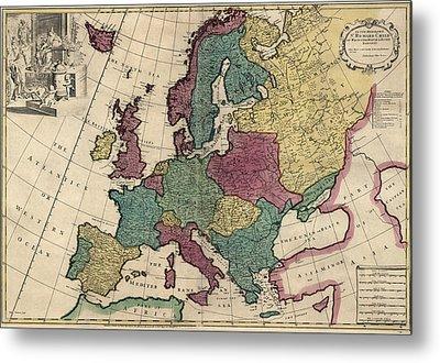 Antique Map Of Europe By John Senex - Circa 1719 Metal Print by Blue Monocle