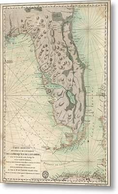 Metal Print featuring the drawing Antique Map Of Florida - 1780 by Blue Monocle