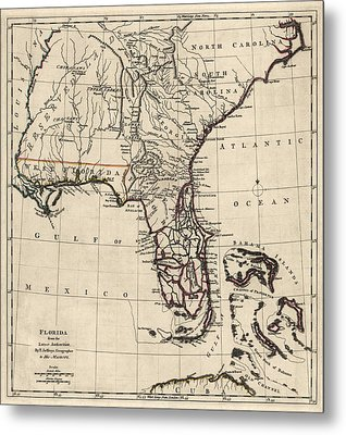 Antique Map Of Florida And The Southeast By Thomas Jefferys - 1768 Metal Print by Blue Monocle