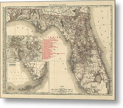 Antique Map Of Florida By Rand Mcnally And Company - 1900 Metal Print by Blue Monocle