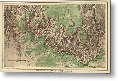 Antique Map Of Grand Canyon National Park By The National Park Service - 1926 Metal Print by Blue Monocle