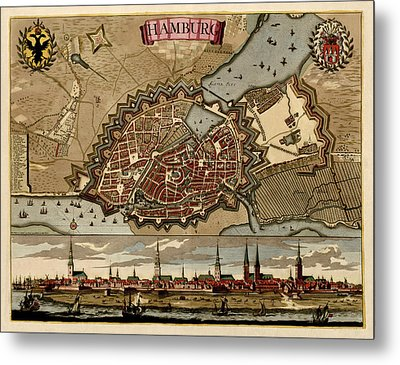 Antique Map Of Hamburg Germany By Pieter Schenk - Circa 1702 Metal Print by Blue Monocle