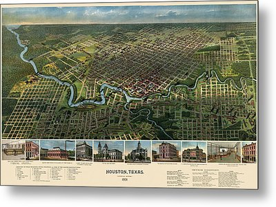 Antique Map Of Houston Texas - 1891 Metal Print