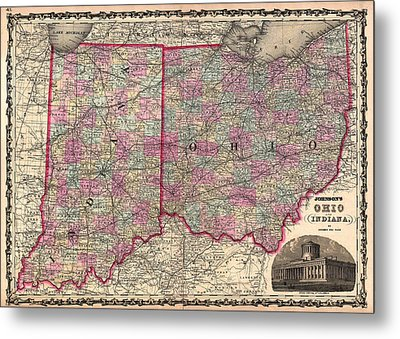 Antique Map Of Indiana And Ohio Metal Print