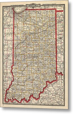 Antique Map Of Indiana By George Franklin Cram - 1888 Metal Print by Blue Monocle