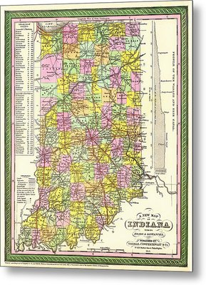 Antique Map Of Indiana Metal Print
