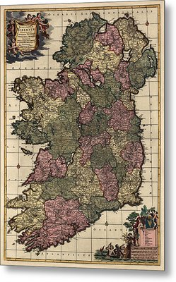 Antique Map Of Ireland By Frederik De Wit - Circa 1700 Metal Print by Blue Monocle