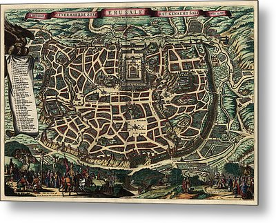 Antique Map Of Jerusalem By Nicolaes Visscher - Circa 1660 Metal Print