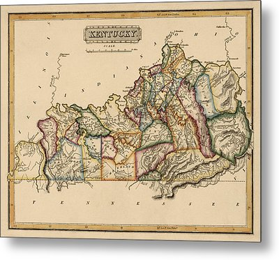 Antique Map Of Kentucky By Fielding Lucas - Circa 1817 Metal Print by Blue Monocle