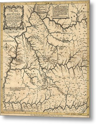 Antique Map Of Kentucky By John Filson - 1784 Metal Print