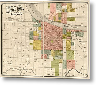 Antique Map Of Little Rock Arkansas By Gibb And Duff Rickon - 1888 Metal Print