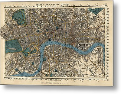 Antique Map Of London By C. Smith And Son - 1860 Metal Print by Blue Monocle