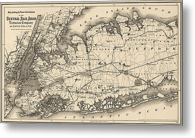 Metal Print featuring the drawing Antique Map Of Long Island And New York City - 1873 by Blue Monocle