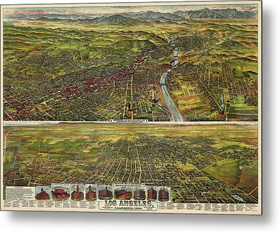 Antique Map Of Los Angeles California By B.w. Pierce - 1894 Metal Print by Blue Monocle