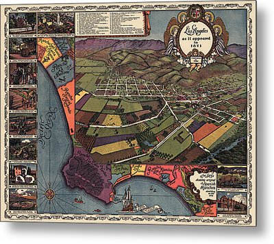 Antique Map Of Los Angeles California By Gores - 1929 Metal Print by Blue Monocle