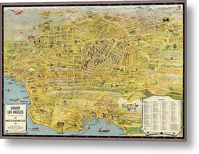 Antique Map Of Los Angeles California By K. M. Leuschner - 1932 Metal Print by Blue Monocle
