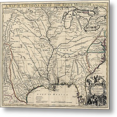Antique Map Of Louisiana And The Mississippi River By John Senex - 1721 Metal Print