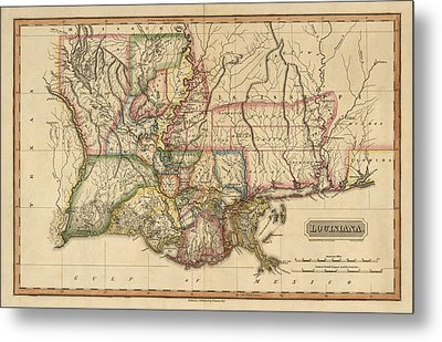 Antique Map Of Louisiana By Fielding Lucas - Circa 1817 Metal Print by Blue Monocle