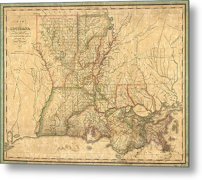 Metal Print featuring the drawing Antique Map Of Louisiana By John Melish - 1820 by Blue Monocle