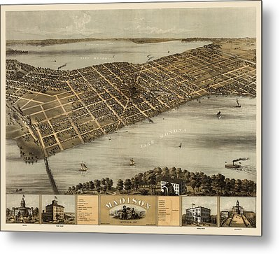 Antique Map Of Madison Wisconsin By A. Ruger - 1867 Metal Print