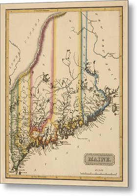 Antique Map Of Maine By Fielding Lucas - Circa 1817 Metal Print by Blue Monocle
