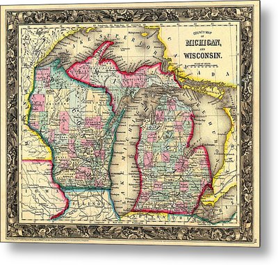 Antique Map Of Michigan And Wisconsin 1860 Metal Print