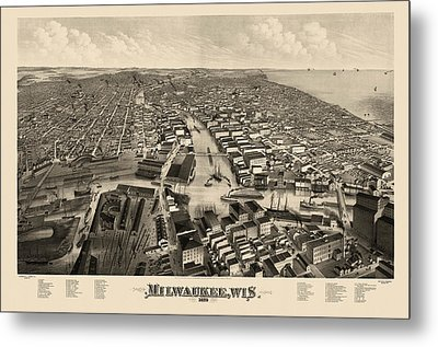 Antique Map Of Milwaukee Wisconsin By J.j. Stoner - 1879 Metal Print