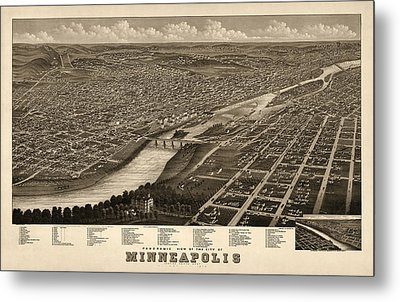 Antique Map Of Minneapolis Minnesota By A. Ruger - 1879 Metal Print