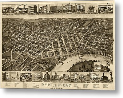 Antique Map Of Montgomery Alabama By H. Wellge - 1887 Metal Print by Blue Monocle