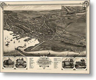 Antique Map Of Nantucket Massachusetts By J.j. Stoner - 1881 Metal Print
