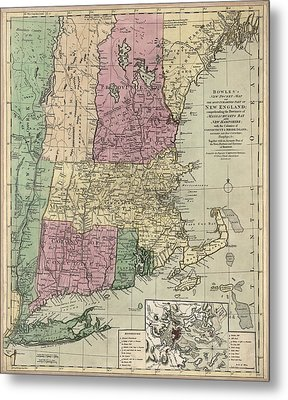 Antique Map Of New England By Carington Bowles - Circa 1780 Metal Print by Blue Monocle