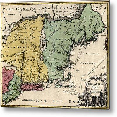 Antique Map Of New England By Johann Baptist Homann - Circa 1760 Metal Print by Blue Monocle