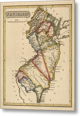 Antique Map Of New Jersey By Fielding Lucas - Circa 1817 Metal Print by Blue Monocle