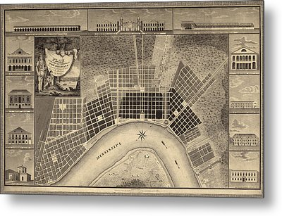 Antique Map Of New Orleans By I. Tanesse - 1817 Metal Print