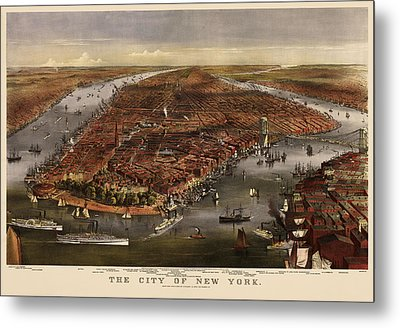 Antique Map Of New York City By Currier And Ives - 1870 Metal Print by Blue Monocle