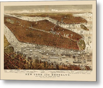 Antique Map Of New York City By Currier And Ives - Circa 1877 Metal Print