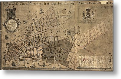Antique Map Of New York City By Francis W. Maerschalck - Circa 1755 Metal Print by Blue Monocle