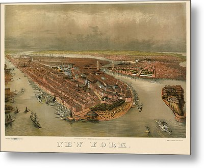 Antique Map Of New York City By George Schlegel - Circa 1874 Metal Print