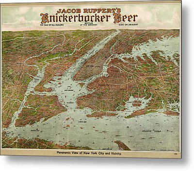 Antique Map Of New York City By Jacob Ruppert - 1912 Metal Print