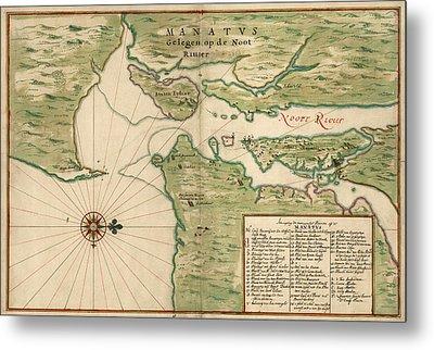 Antique Map Of New York City By Joan Vinckeboons - 1639 Metal Print
