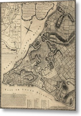Antique Map Of New York City By John Montresor - 1766 Metal Print