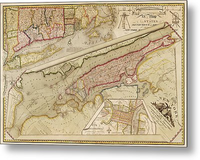 Antique Map Of New York City By John Randel - 1821 Metal Print by Blue Monocle