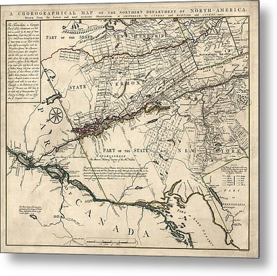 Antique Map Of New York State And Vermont By Covens Et Mortier - 1780 Metal Print by Blue Monocle