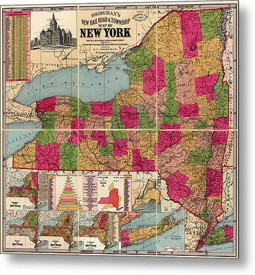 Metal Print featuring the drawing Antique Map Of New York State By E. C. Bridgman - 1896 by Blue Monocle
