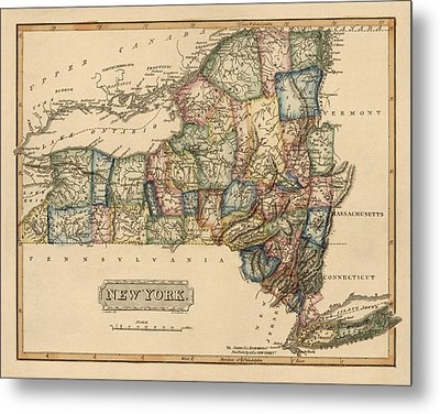 Antique Map Of New York State By Fielding Lucas - Circa 1817 Metal Print by Blue Monocle