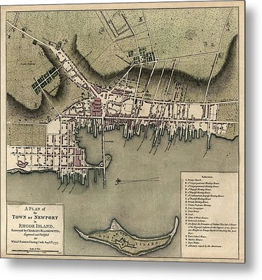 Antique Map Of Newport Rhode Island By William Faden - 1777 Metal Print by Blue Monocle